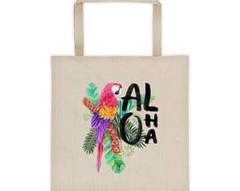Aloha - Tropical Hawaiian Getaway Vacation Floral Macaw Parrot Beach/Tote bag