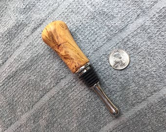 Hand turned Cherry Wood Burl Bottle Stopper finished w/Bees Wax
