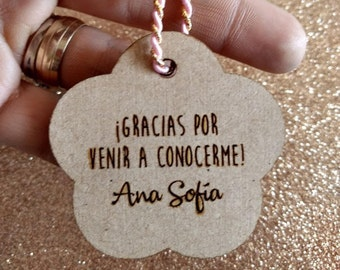 tags engraved MDF, thanks for coming, souvenirs babyshower, labels favor gifts