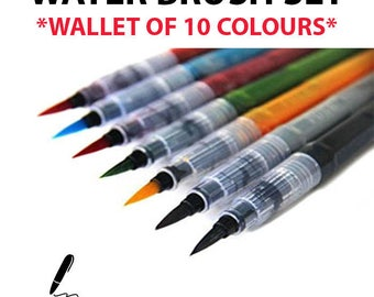 10 Coloured Watercolour Brush Pen for Water Colour Calligraphy Painting Drawing Art Refillable