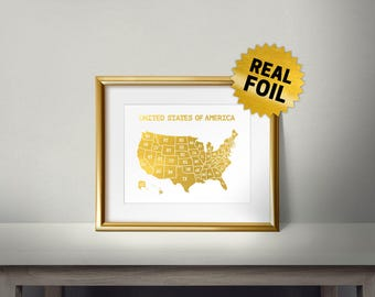 United States of America, Real Gold Foil Print, States framed art, Map decor, Gold Foil USA, US Map Wall Decor, Living Room, Office