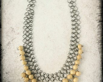 Chainmaille Necklace with Wood Beads