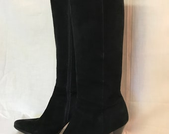 Beautiful Suede Boots, Antonio Melani, 6.5M Black Suede Boots, 3.5 heel, Knee Length Boots, Quality Made