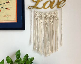 Gold Script Love Sign with Macrame Wall Hanging, Valentine's Day, Woven Wall Hanging, Boho Hippie Tapestry, Dream Catcher