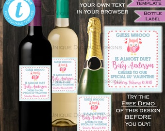 Valentines Day Wine Bottle Label Wrap Valentines Day Gift for Him Gift for Her Look Whoo is due Baby Custom Printable INSTANT Self-EDITABLE