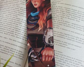 Horizon zero dawn bookmark, gift aloy bookmark, video game bookmark, book readers gift, reading book gift, video game art, illustration gift