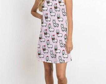Sheep with Christmas Outfit Print Dress, Sleeveless Dress, Sublimation Print, Romantic Dress, Casual Dress, Mini Dress, Christmas