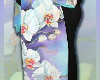 Silk Scarf White Orchid, For women, Handmade , Colourful Handpainted scarf, Silk Wrap, Rare Unique Gift