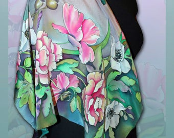 Silk scarf shawl Inspired By Summer, Handmade, Scarves for women, Colourful Handpainted scarf, Silk Wrap, Rare Unique Gift