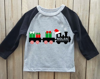 Boys Christmas shirt, train shirt, Christmas shirt, toddler christmas shirt, christmas onesie, boys christmas onesie, kids christmas shirt