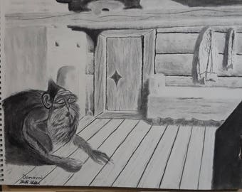 """18x24"""" Domovoi Original Charcoal Drawing"""