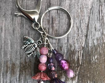 Keychains for Women, Bee Keychain, Honey Bee Bag Charm, Beaded Keychain, Honey Bee Gifts, Purse Charm for Handbags, Czech Glass Beads, Gift