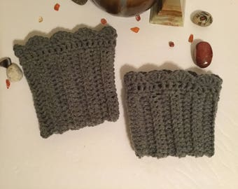 Hand Crochet  Boot Cuffs : Warm And Cosy Grey Scalloped Top - Ladies One Size