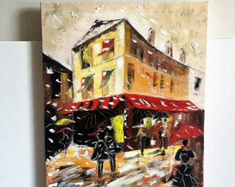 France oil painting France cityscape home decor Winter season painting France on canvas painting French city art French street Free shipping