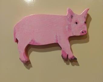 Large Pink Pig Magnet Hand Painted Wood Pig Kitchen Magnet