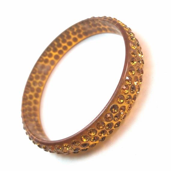 Vintage Deco Celluloid Rhinestone Bangle Bracelet