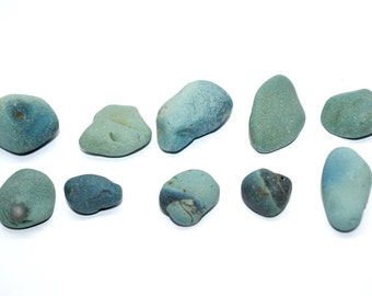 Blue - Green stones / Stone Beach/ Finds Rare Stone For You Collection /Beach Home Decor /terrarium decor 10 pieces