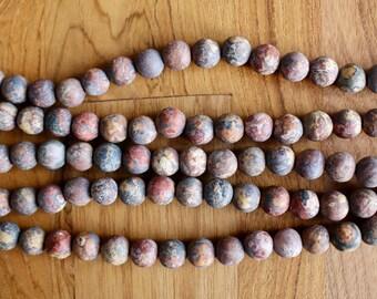 8mm Frosted Leopardskin Jasper beads, full strand, natural stone beads, round, frosted leopard skin, 80131