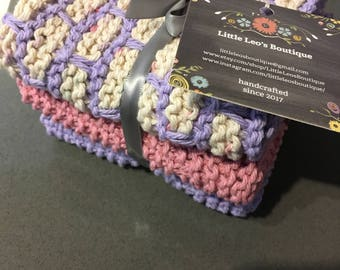 Purple and Pink Dishcloths, Set of 3
