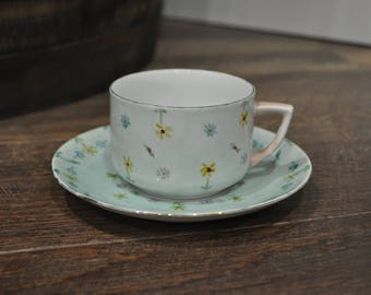Teacup & Saucer - Bavaria Schumann Germany- Blue with Hand Painted Flowers
