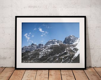 Winter Mountain Print, Alps Digital Print, Alpine Printable, Nature Photography, Home Decor, Natural Landscape Wall Art, Office, Sky Clouds