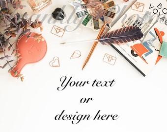 Rose Gold Desk Styled Stock Photo / Styled Stock Photography / Flatlay / Product Mockup / Lifestyle Stock Image / Frankly Photos File #41