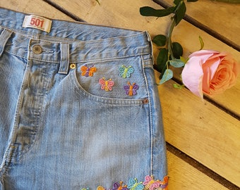 Vintage Levi Shorts With Butterfly Trim