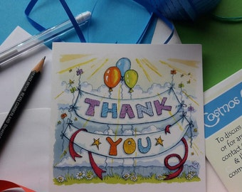 Thank You card. Greetings card. Original artwork. Fun Thank You.
