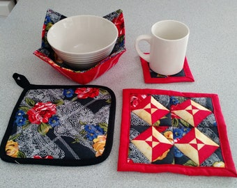 KITCHEN STARTER SET:  Pot Holder, Hot Pad, Mug Rug, Microwave-safe Bowl Cozy in Red and Black