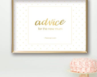 Baby Shower Sign PRINTABLE | Advice for New Mum Cards