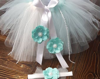 Teal/Ivory Tutu & Bow Set