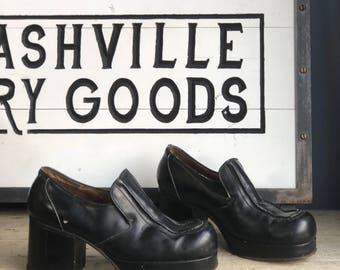 8 D | 1970's Men's Black Platform Disco Shoes