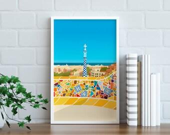 Barcelona Travel Poster, Print, Vintage, Memento, Souvenir, Gift, Christmas gift, Poster, Art, Artwork, Digital art, Travel Illustration