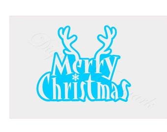 Merry Christmas Stencil SVG & Studio 3 Cut File Cutouts Files Logo for Silhouette Cricut Holiday Ornaments Decals SVGS Christmas Ornament