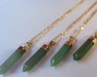 Aventurine Point Necklace // Healing // Crystal //Gemstone Necklace gold dipped