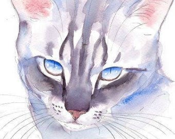 Blue Eyed Silver Tabby Cat Original Watercolor Painting