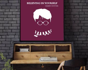 Happy Potter Print Quote, Film TV Print, Gifts, Study, TV Room decor!
