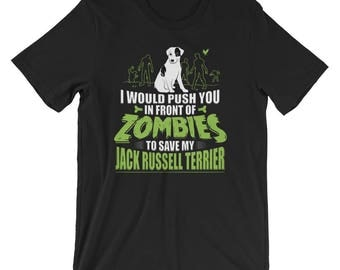 Funny Jack Russell UNISEX Terrier T-Shirt Halloween Zombies Shirt