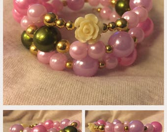 Rose Themed Wrap Bracelets - Hand-Beaded Coil Bracelets - Roses and Crosses - Pearls and Metallics - Romantic Memory Wire Bracelets