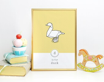 Duck Wall Print, Alphabet Print, Origami Art, Geometric Print, Minimal Kids Art, Animal Nursery Print, Scandinavian Print, Duck Gift