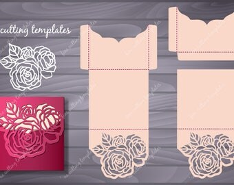 Roses Wedding Luxury envelope template for cutting (svg, dxf, ai, eps, png, pdf, studio3). Instant Download.