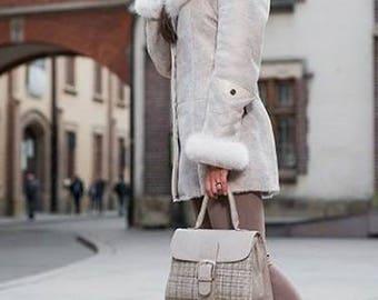 SHEEPSKIN women jacket Leather beige coat FOX FUR coat with hood shearling winter jacket  warm gift for women coat luxury gift for her