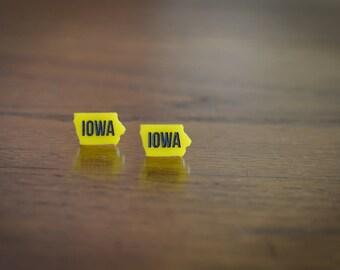 University of Iowa Earrings - YELLOW ACRYLIC