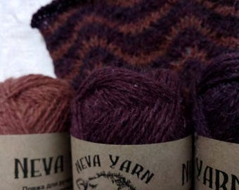 Set of 3x50g Natural Artistic Hand Dyed 100% WOOL YARN Made in Russia Great for knitting sweaters, pullovers, hats, scarfs, socks gloves A16