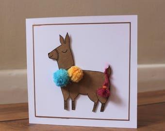 Llama card, Alpaca card, Blank greeting card,  Pom pom