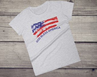 God Bless America T-Shirt, Grungy US flag, Patriotic Shirt, usa t-shirt, merica t-shirt, patriotism, america t-shirt Women's short sleeve