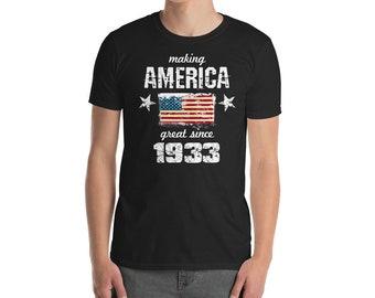 Making America great since 1933 T-Shirt, 85 years old, 85th birthday, custom gift, 30s shirt, Christmas gift, birthday gift, birthday shirt