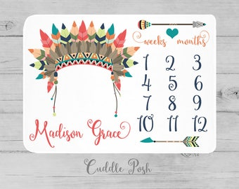 Baby Girl Milestone Blanket, Chief Headdress Newborn Photography Backdrop, Month Growth Chart Quilt, Personalized Tribal Girl Shower Gift