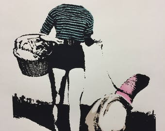 """Original Art Screenprint, Vintage style pinup girl, out for a picnic walking pet geoduck """"Sue Jones and Quacky"""""""