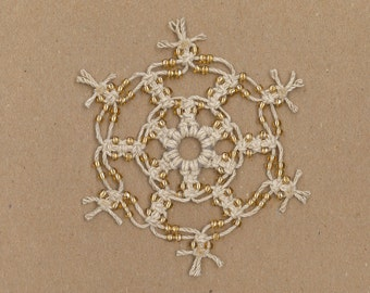 Handmade natural hemp macrame snowflake with gold color glass beads by TwistedandKnottyUS